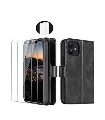 "IPhone 12 Mini 5.4"" Wallet Case & 2 Glass Screen Protectors RFID Blocking Black • 16.99£"