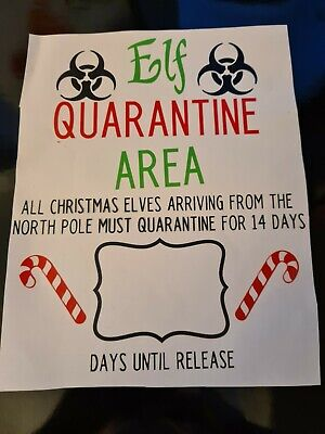 £3.20 • Buy Naughty  Elf Quarantine Area Christmas Vinly Decals Stickers  Fun Children Candy