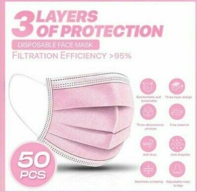 5/10/20/30/50 3 Ply Pink Disposable Face Masks Non-medical Surgical Mask  • 5.25£
