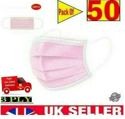 50 Pink Surgical Disposable Face Masks 3 Ply Face Covers Mask Non-Medical • 5.49£
