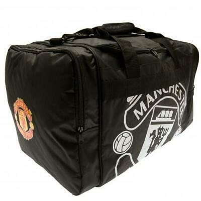 Manchester United FC Official Crested Black Holdall Bag Gym School Present Gift • 19.95£