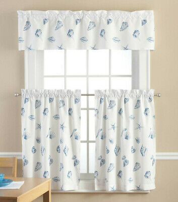 $23.99 • Buy Seashell 3 Piece Curtains Set Tiers Valance Nautical Shell Blue White