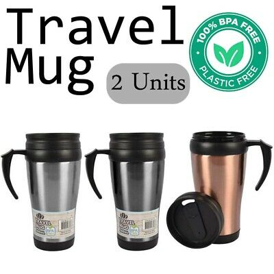 AU17.99 • Buy 2x500ml TRAVEL MUG With Handle Stainless Steel Insulated Cup Coffee Tea Interior
