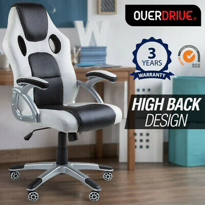 AU144 • Buy OVERDRIVE Racing Office Chair- Seat Executive Computer Gaming Deluxe PU