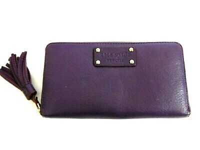 $ CDN39.26 • Buy Kate Spade Purple Leather Zip Around Accordion Wallet Purse