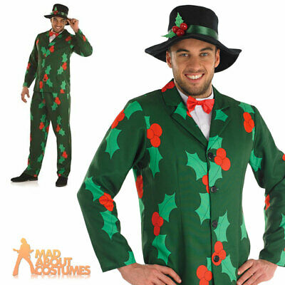 £20.99 • Buy Adult Mens Holly Berry Christmas Gentleman Suit Costume Xmas Fancy Dress Outfit