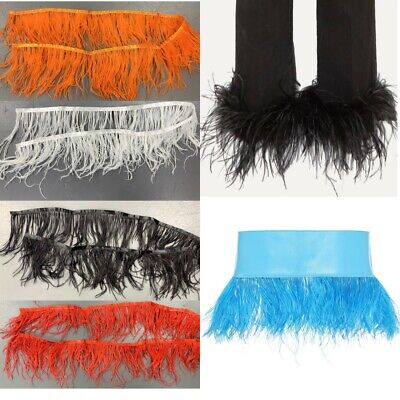 £6.99 • Buy High Quality 1 Metre Ostrich Feather Trimming Fringe Ribbon Clothes Dress Decor