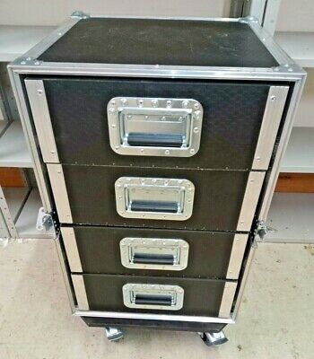 8U 19  Rack Flight Case On Braked Wheels With Power Distibution And Patch Bay • 150£