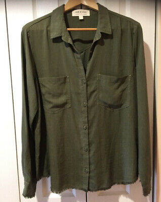 $ CDN40.76 • Buy Cloth And Stone Button Top Green Large Tencel Anthropologie Chambray