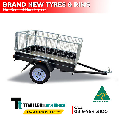 AU1200 • Buy 7x4 Single Axle Heavy Duty Cage Trailer For Sale | Smooth Floor | New Tyres