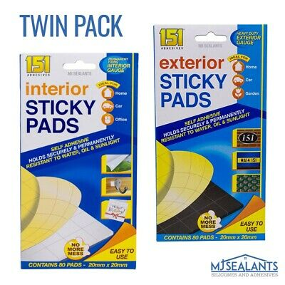 £3.39 • Buy 2x 151 Exterior / Interior 80 Strong Sticky Pads Self Adhesive Double Sided Foam