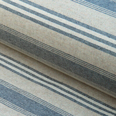 French Vintage Style Faded Charcoal Stripe Linen Machine Washable Oilcloth • 8£