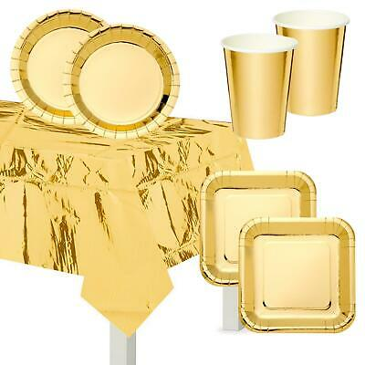 Gold Festive Christmas New Years Eve Cups Plates Table Cover Party Decorations • 4.18£