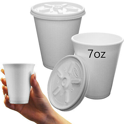 Full Case 1000 X Polystyrene 7oz Cups With Vented Lids - All Hot / Cold Drinks • 68.99£