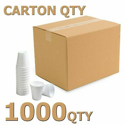 Disposable White Cups 7 Oz CARTON OFF 1000 QTY New Foam Pack -  High Quality  • 23.50£