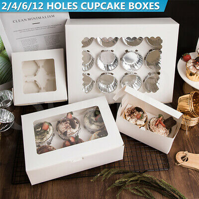AU10.99 • Buy Cupcake Boxes 2/4/6/12 Hole Window Face Cake Boxes Cake Boards Wedding Party Box
