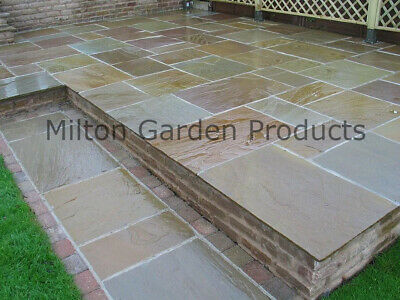 Raj Green Paving Slabs 18-25mm Mixed Sizes Brown Indian Stone 19m2 Patio Pack • 510£