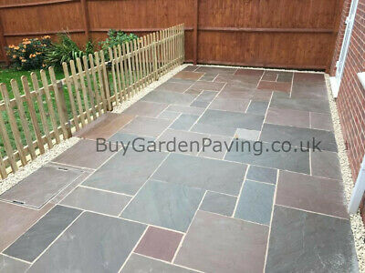 Raj Green Indian Stone Paving Slabs 22mm Mixed Sizes 1m2 Collected Natural Brown • 2.99£