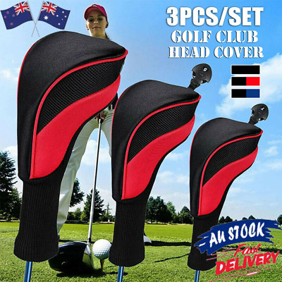 AU28.12 • Buy 3X Golf Club Head Covers Set Long Neck Driver 1/3/5 Fairway Woods Headcovers AU