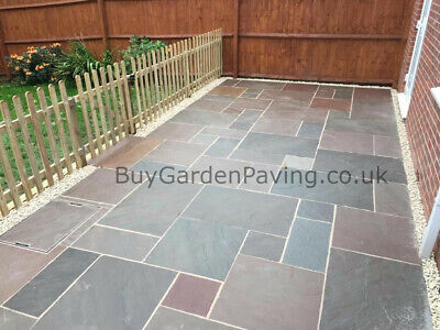 Raj Green Indian Stone Paving Slabs 22mm Mixed Sizes 15.3m2 Pack Natural Brown • 479.99£