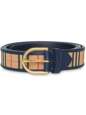 £139.95 • Buy Burberry 1983 Check Leather Belt In  Ink Blue, BNWT & Protective Bag. Size 38