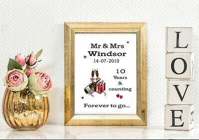 Personalised 10th Wedding Anniversary Gift Couples Romantic Love Present Gifts • 4.99£