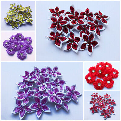 5-20 Satin Ribbon Flowers Bow Sewing Decorations Craft 50mm Gift Craft Card • 3.49£