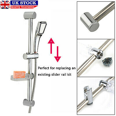 Adjustable Chrome Bathroom Shower Head Holder Riser Rail Bracket Slider Bar Kit • 7.29£