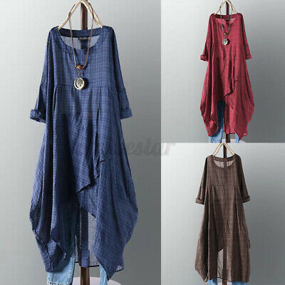 Women Long Sleeve Casual Loose Check Dress Baggy High Low Shirt Dresses Pullover • 16.76£