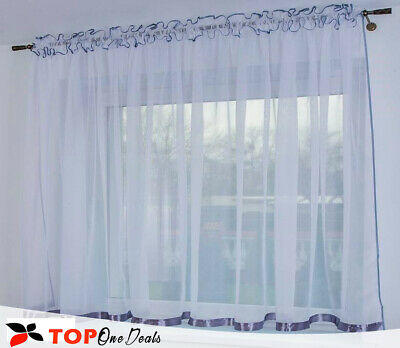 White Voile Net Curtains With Grey Ribbon - High Quality - Net & Voile Drapes • 16.99£