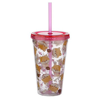 Double Walled Cup - With Lid And Straw - Shiba Inu Dog Design • 9.75£