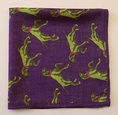 Wool & Silk 15  Pocket Square Handkerchief. Purple With Green Dogs • 10£