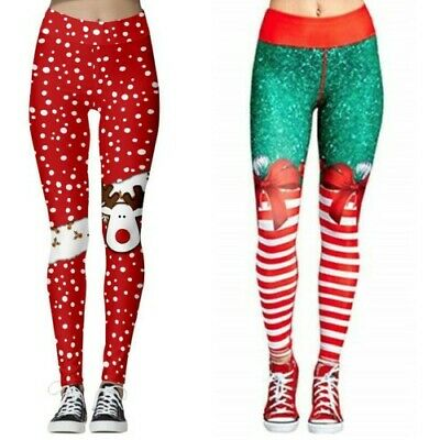 Womens' Christmas Leggings Active Workout Running Yoga Gym Pants Stretchy Casual • 6.99£