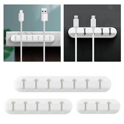 3/5/7 Slots Cable Clips Tidy Cord Lead Organiser USB Charger Holder Drop Sticker • 3.50£
