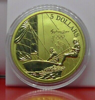 Sport $5 Coin Australia Sydney 2000 Frosted Bronze Olympic Sailing Sailor & COA • 8.99£