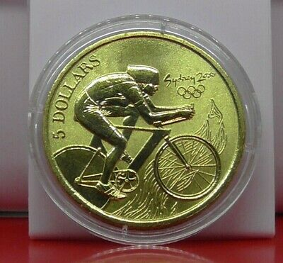 Sport $5 Coin Australia Sydney 2000 Frosted Bronze Olympic Cycling Cycles & COA • 8.99£