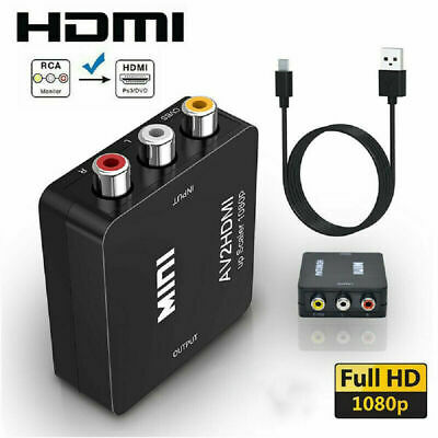 RCA To HDMI Converter Composite AV CVBS Video Adapter 1080p For Wii NES SNES VHS • 6.33£