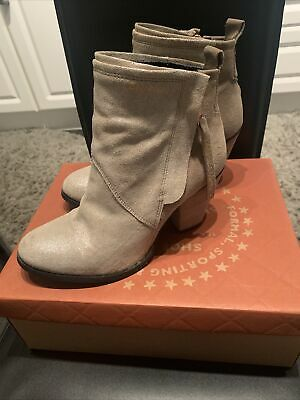 New Superdry Dillanger Womens Heeled Ankle Boots UK 7 In Sand Suede RRP £89.99 • 15.10£