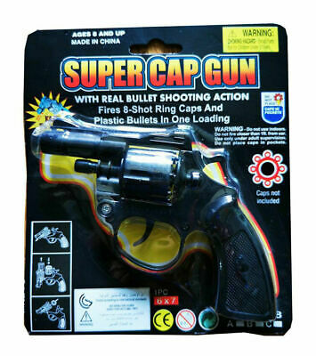 Super Cap Toy Gun Revolver 8 Shot Ring Caps Pistol Handgun Toy For Kids • 5.99£