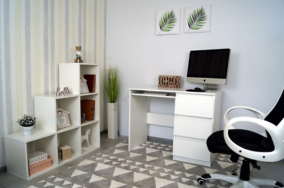 NEW! White Modern Desk With Drawers • 59£