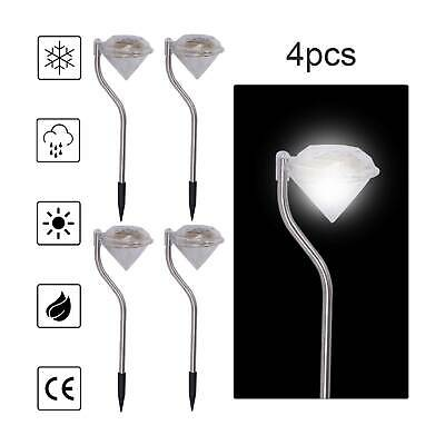 4 X Solar Powered Stainless Steel LED Diamond Stake Lights Garden Patio Outdoor • 7.69£