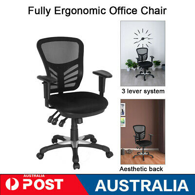 AU136.99 • Buy Ergonomic New Office Chair High Back Adjustable Mesh Recliner Optional Footrest