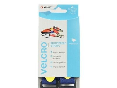 Velcro Adjustable Strap  Blue Loop Yellow Hook With Buckle 25mm X 46cm  • 5.99£