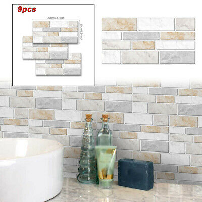 9 X 3D Self-Adhesive Kitchen Wall-Tiles Bathroom Mosaic Tile Sticker Peel Stick • 8.59£