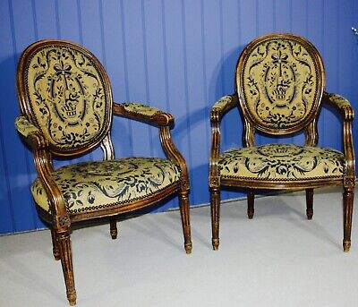£430 • Buy A Pair Of Antique Louis XVI Style Cabriolet Needlepoint Armchair/fauteuil