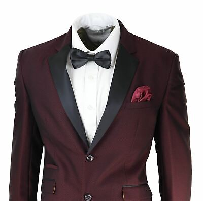 $ CDN159.28 • Buy Mens Wine Tuxedo Dinner Suit Black Satin Lapels 2 Button Slim Fit Wedding Prom
