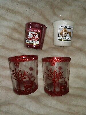 Yankee Candle 2 Red Reindeer Votive Holder And 2 Votive Candles • 10£