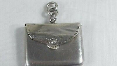 Antique Sterling Silver Small Stamp Case Wallet Fob Ring Charm 1916 • 39£