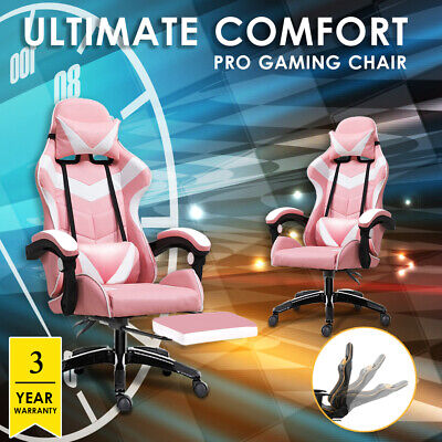 AU139.99 • Buy Gaming Chair Office Seating Racing PU Leather Executive Racer Footrest Pink