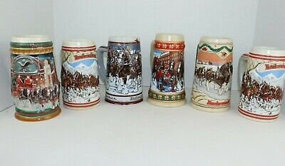 $ CDN87.47 • Buy Lot Of 6 Vintage Budweiser Holiday Winter Steins